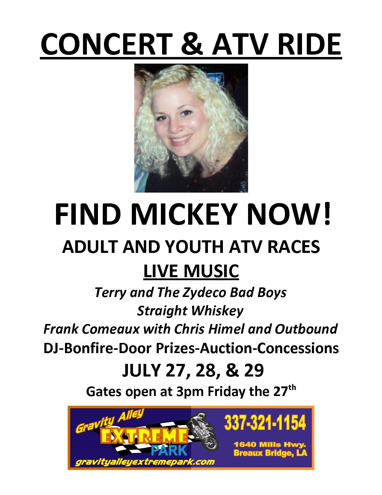 Concert and ATV Ride fundraiser for Mickey Shunick flyer