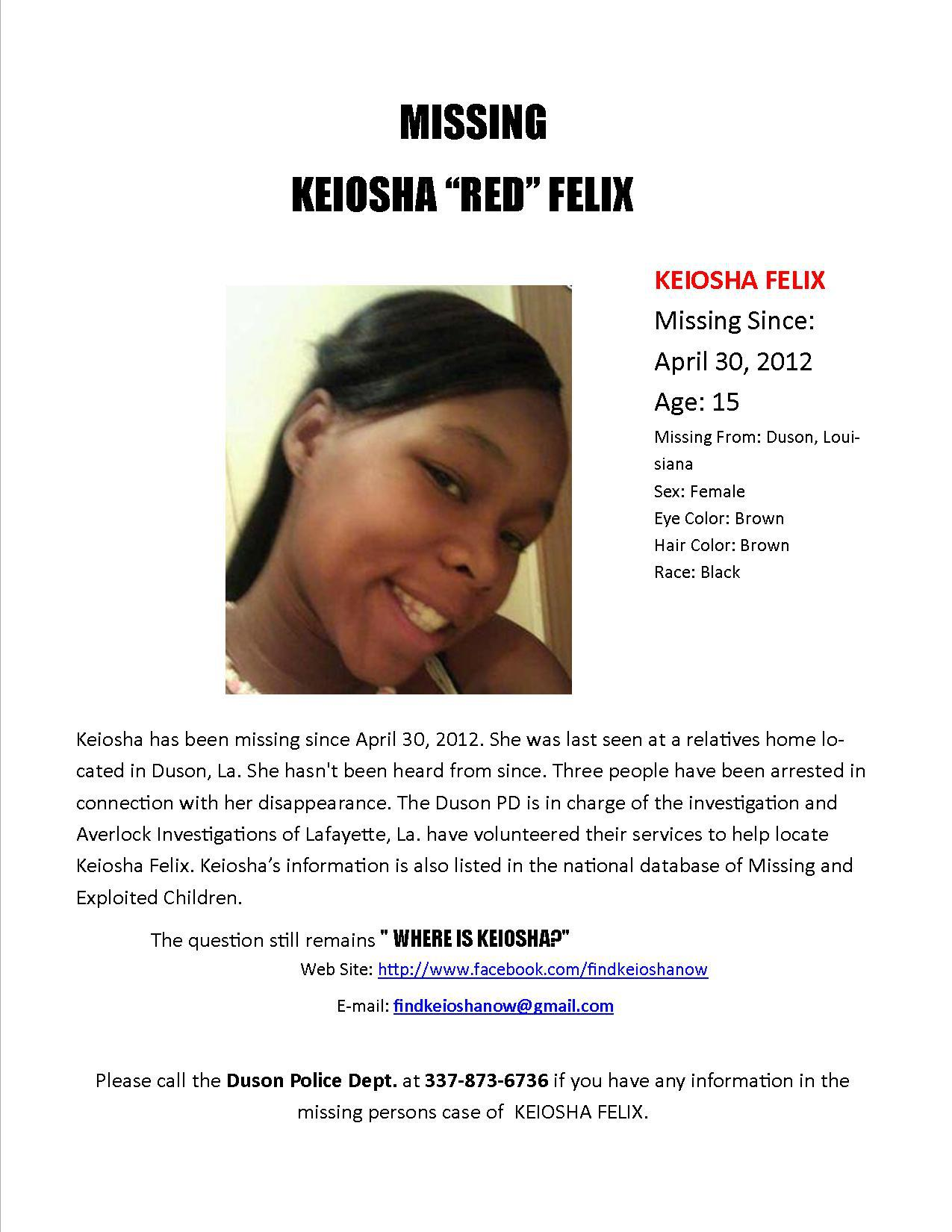 Keiosha Felix - Missing from Duson, LA