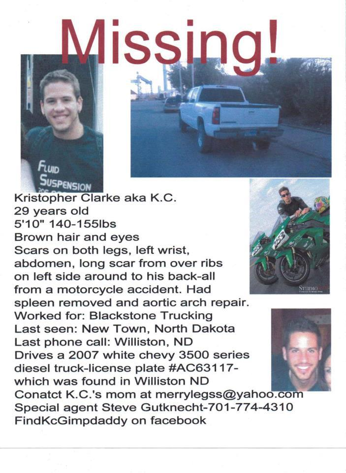 Missing from North Dakota - Kristopher D. Clarke Nickname-K.C.