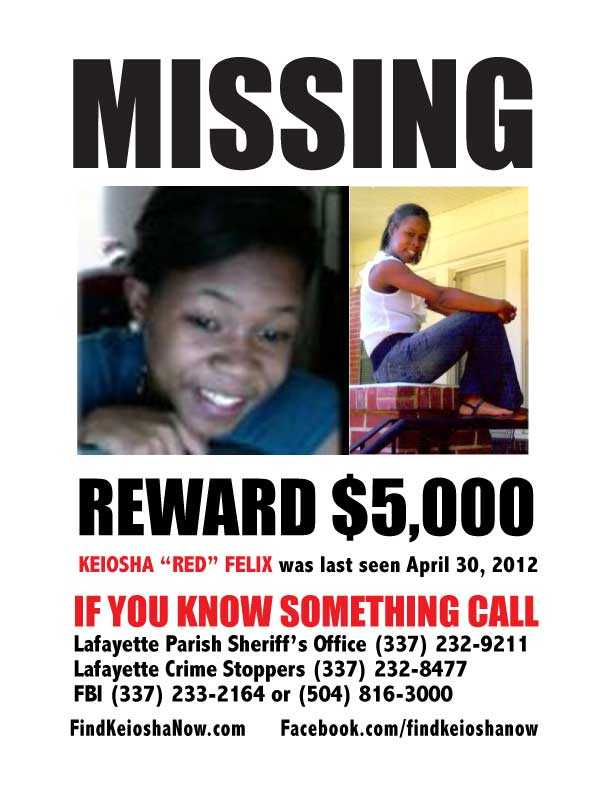 Missing in Louisiana - Keiosha Felix Missing Flyer