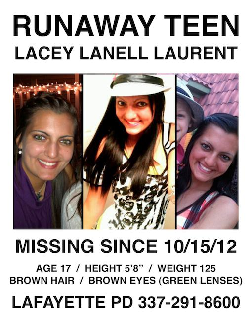 Lacey Laurent missing from Lafayette, LA