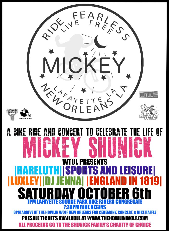 Bike Ride and Concert to Celebrate the Life of Mickey Shunick